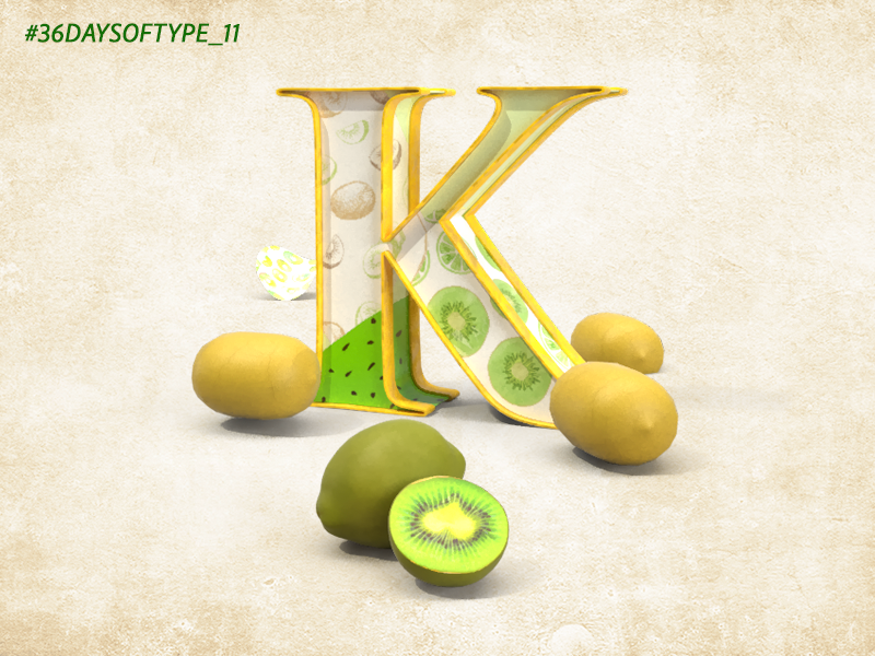 K is for 36 Days of Type graphic digital art digital 3d 3d daily inspiration adobephotoshop typography typedesign type challenge lettering digital adobedimension 3d type type daily type daily challange 3d art foodandtype design 36daysoftype