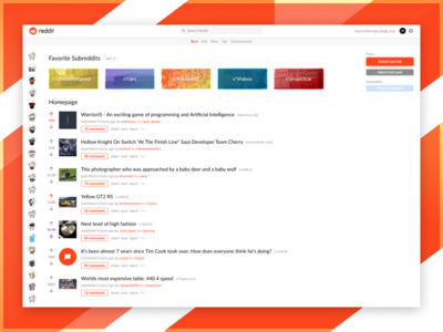 Reddit Redesign - Web Homepage colorful contest material modern clean native redesign web