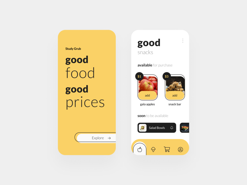 Food Truck Ordering App - Mobile App figma cards black white yellow handdrawn drawn minimal mobile ios iphone mockup mock