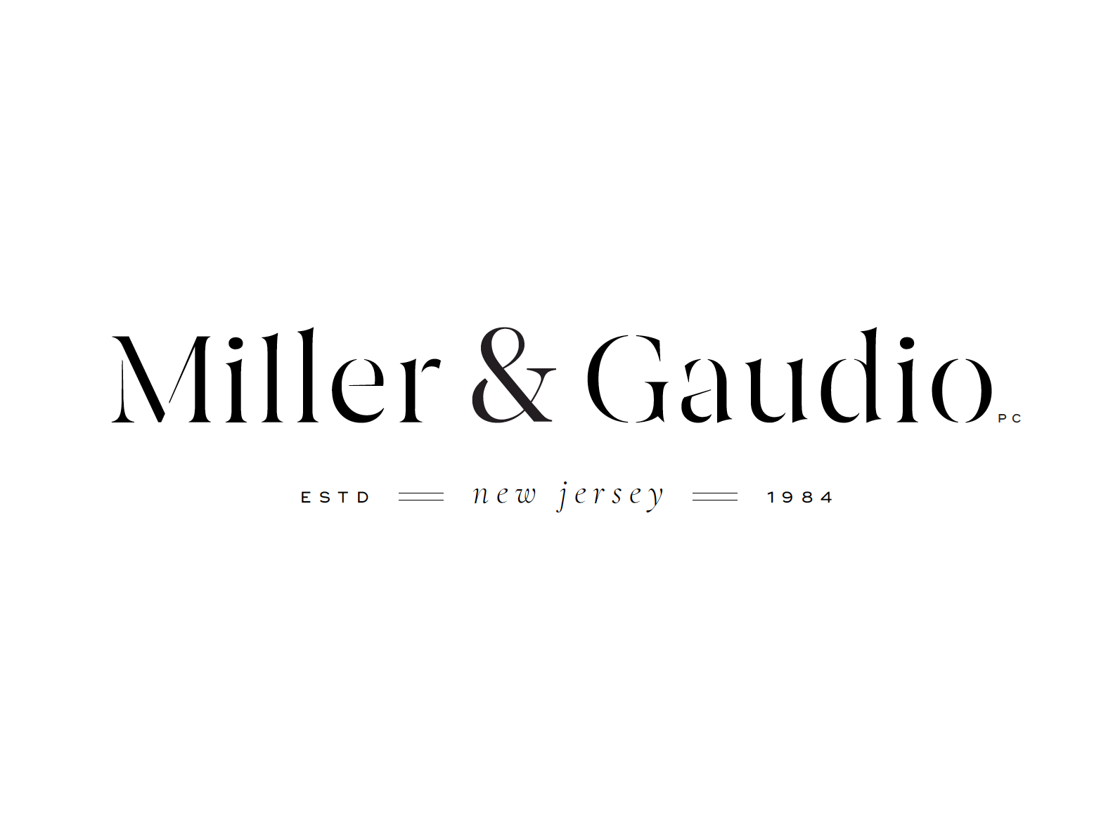 Miller & Gaudio Branding Design black and white simple design new jersey attorney lawfirm law identity brand simple clean high-end modern minimal branding logo design concept
