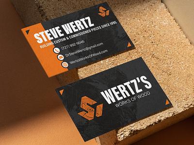 Wertz's Works of Wood Business Cards orange brandidentity brandidentitydesign logodesign logo woodworkingbranding businesscard craftsman woodwork woodworkinglogo wooddesign woodtexture wood woodworkerbusiness woodworkerbranding woodshop woodworker woodworking