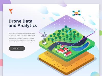 Drone Analytics gradient data insights illustration decision analytics isometric solutions drone