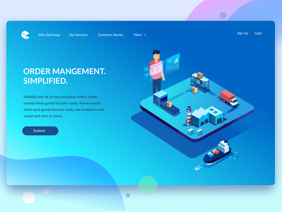 Order Management flow isometric truck warehouse cargo ship goods tracking purchase order visibility orders order management