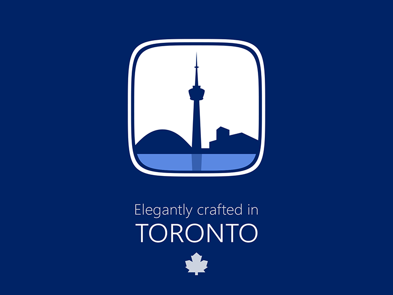 Crafted in Toronto Icon icon toronto badge blue rebound vector crafted elegantly maple leaf squircle city made in toronto