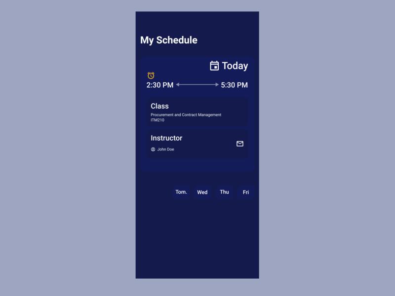 Redesigned of my college's schedule App. minimal ux flat app ui design