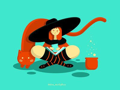 Witch magic cat witch vector illustrator illustraion