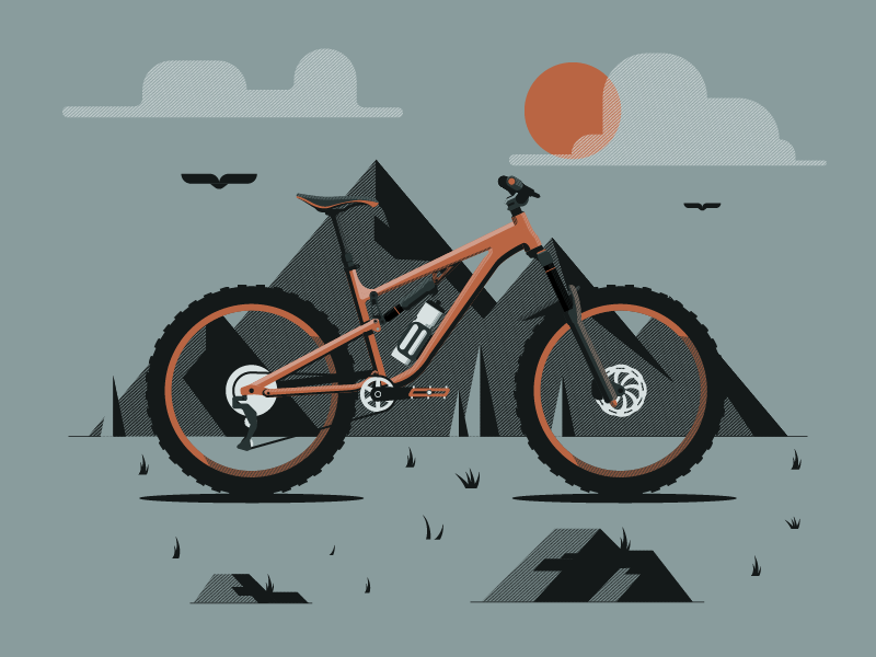 My Bike rocks dkng mountain bike mountain bike design illustrator flat illustration vector