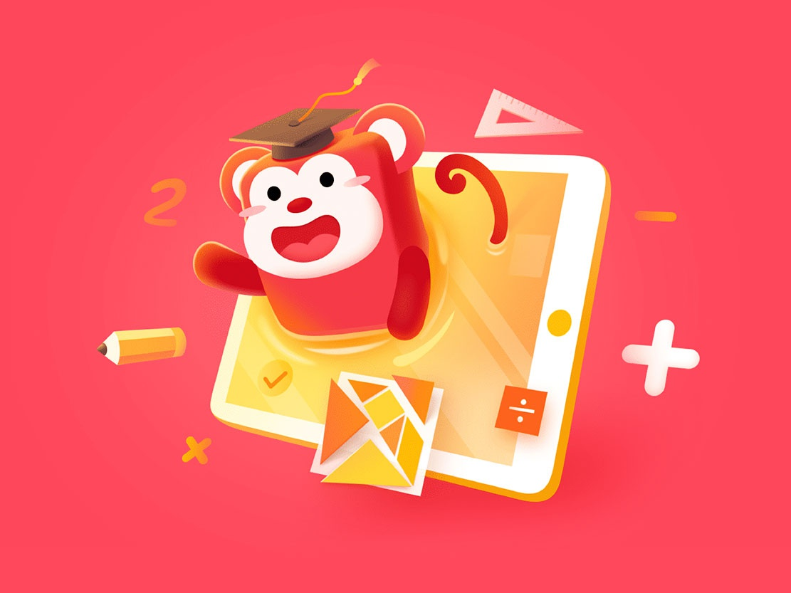 Fire monkey logic 可爱 插图 education monkeys