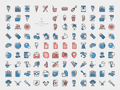 Icecream Icons icon design web uiux
