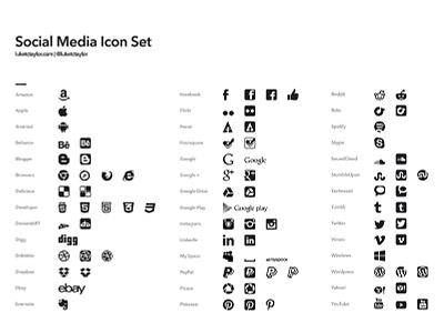 Social Media Icons free freebie download social media icons icon set vector complete full luketctaylor logo logos