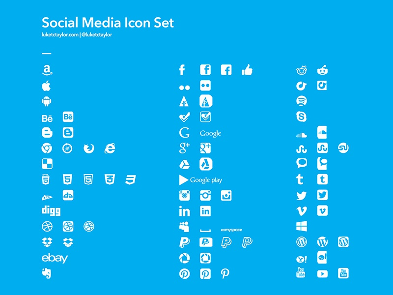 Social Media Icons free freebie download social media icons icon set vector complete full luketctaylor logo logos
