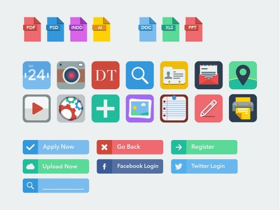 Flat Icon Concepts flat icon brand branding strategy concepts ui colourful bright set buttons