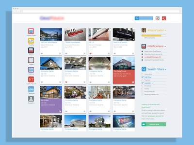 Flat Home Page Rebrand home web website board flat widget branding icon ui layout