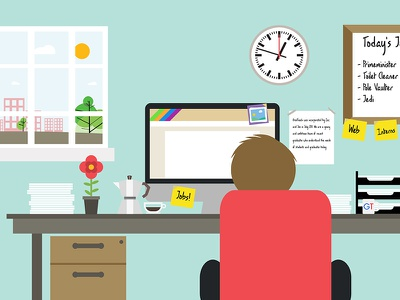 Office Scene Illustration Rebound flat vector clean detail studio fun office desk illustration scene