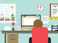 Office Scene Illustration Rebound