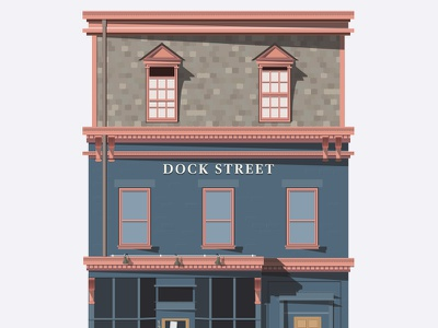 Dock Street flat house illustrator vector store storefront shadows minimal building chive windows thechive
