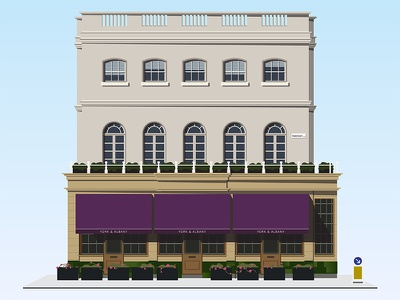 York & Albany flat vector illustrator minimal building house shadows store storefront windows flowers restaurant