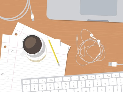 Flat Workspace Illustration flat minimal illustrator vector ai desk workspace apple office