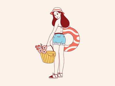 Sunny day lineart minimal illustration minimal flower beach picknic sun warm vector illustration cute