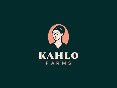 Kahlo Farms cosmetic flower logo fridakahlo rose pattern logotype vector branding design logo