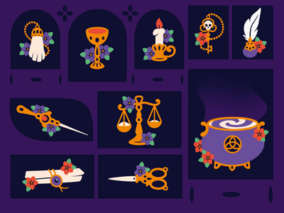 Witches' things creativemarket cauldron magic wand magic libra scissors rabbitfoot rabbit key scroll cup candle animation gif halloween mystery witcher witch