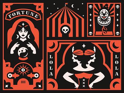 Freak show Halloween freak circus halloween illustration design
