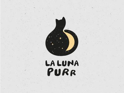 La luna purr vector moon star stardust romance purr cat love logo