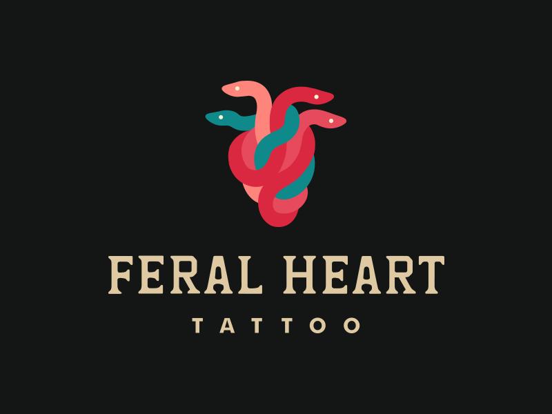 Feral Heart heart tattoo snake logo