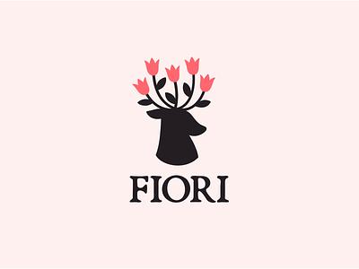 Dribbble logotype design tender animal cute pink monochrome flower logo deer logo
