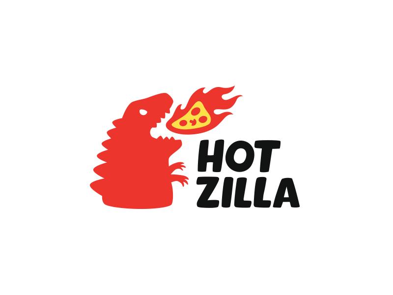 HotZilla pizza flame fire godzilla red hot design logo