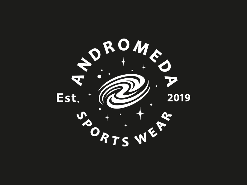 Andromeda Sportswear emblem logo universe cosmic branding design logo