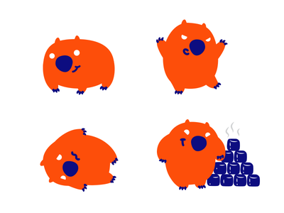 Wombat cute character wombat vector funy illustration design logo