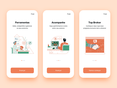 App Loft Corretor onboarding screen ui design application app design