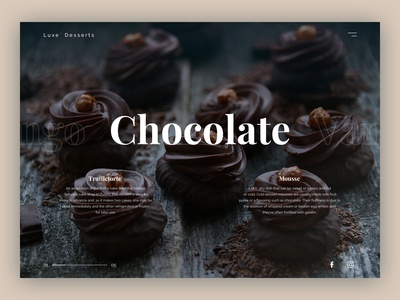 Luxury dessert landing page