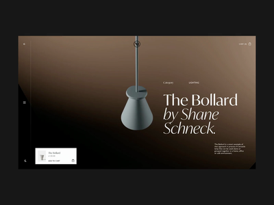 The Bollard shop minimal design blender product lamp animation art direction interface layout typography clean website concept web ux ui