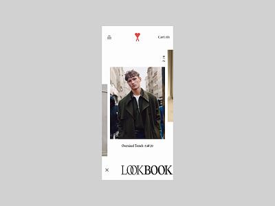 AMI Concept / Lookbook fashion mobile carousel lookbook animation art direction design typography minimal website clean concept web ux ui