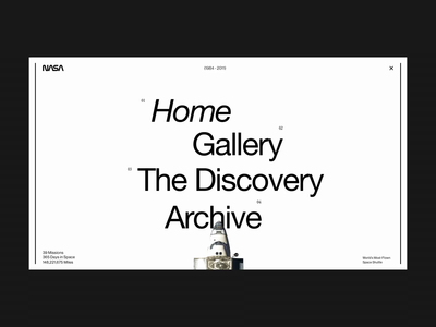 The Discovery / Menu Concept interaction space nasa menu animation interface layout typography design minimal website clean concept web ux ui