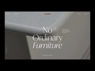 All in Stone — Website 001 typography shop customise animation interface layout product furniture design minimal website clean concept web ux ui