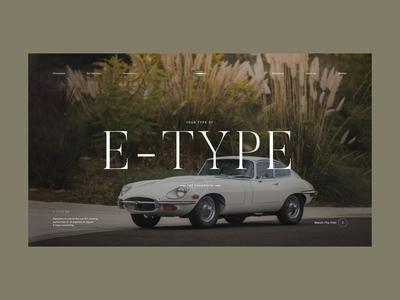 E-Type Concept landing page interface e-type jaguar cars layout typography design website concept web ux ui clean