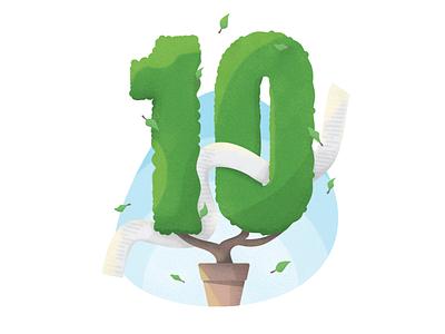 🍃 10th anniversary design leaf grain sky ten tree nature illustration vector