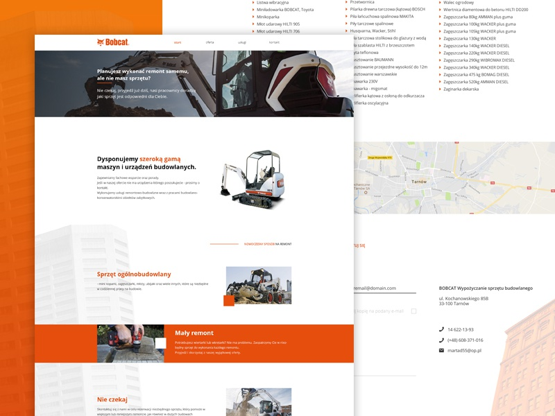 Bobcat Rental website fresh clear orange onepage webdesign ui web page responsive homepage design