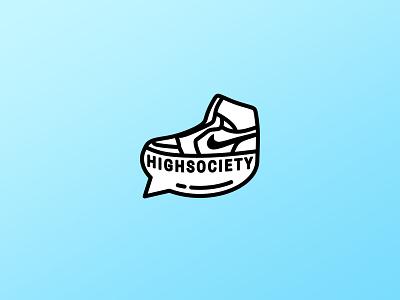 High Society Logo sneakers kicks shoe nike creative talk flat vector design id logo