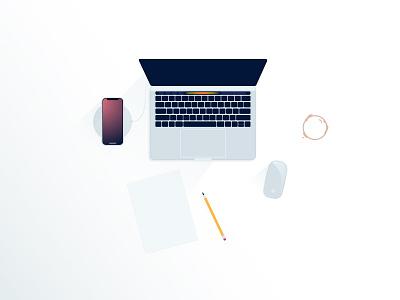 Minimal workplace pencil coffee vector material iphone apple macbook design flat workplace minimal