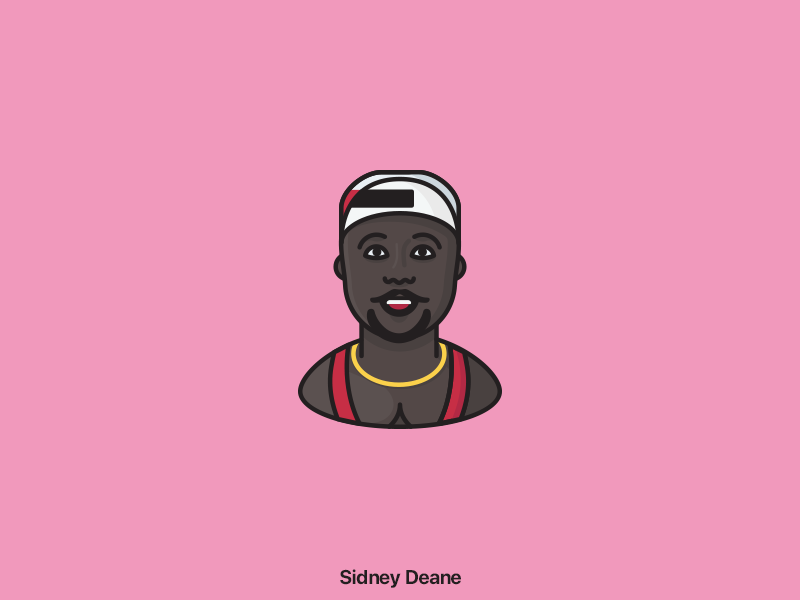 Iconic persons - Sidney Deane basketball minimal linear iconic person movie white man cant jump vector illustration icon