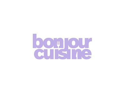 🥄 Bonjour Cuisine logotype purple typography branding design minimal vector flat logo