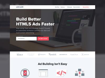 Adcade Beta Site sign up editor advertising saas website adcade