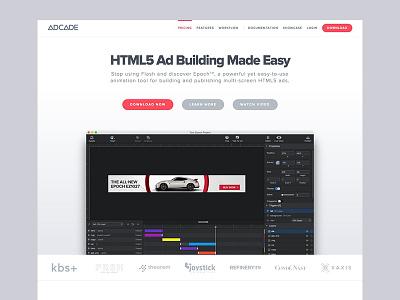 Adcade Site Redesign saas website editor adcade