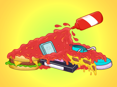Let's ketchUP on things ketchup burger vhs snickers phone pizza design vector food fast food photoshop illustrator illustration