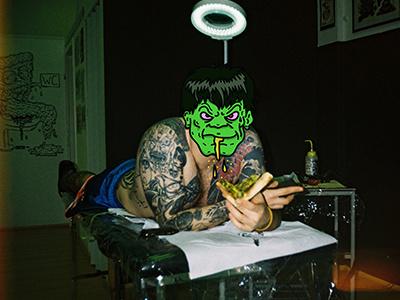 Hulk is not mad tattoo ljubljana marvel hulk collage photograph food illustrator analog illustration pizza