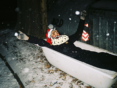 Chilling Santa coca cola santa claus analog collage photoshop illustrator illustration snow christmas coke santa
